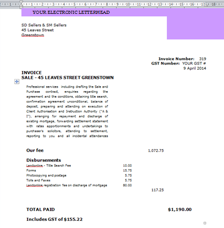 Fees and Invoices – Invoice Letterhead
